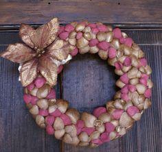 Christmas wreath, 8.5. inches, seashell wreath, Holiday wreath, coastal, beach, cottage chic, gold, sea shell