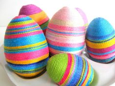 Embroidery floss covered Easter Eggs a dye free option