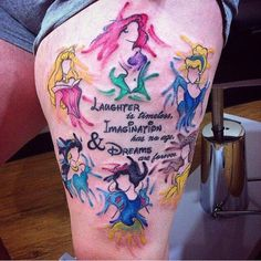 100 magical Disney tattoo ideas for every Disney fanatic. Tattoos last forever, but so does the love for Disney. Movies, charcters, quotes, discover here. Inspiration Tattoos, Tattoo Ideas, Dream Tattoos, Future Tattoos, Leg Tattoos, Body Art Tattoos, Tattoo Thigh, Tatoos, Arrow Tattoos