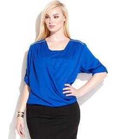 Calvin Klein Plus Size Roll-Tab-Sleeve Draped Blouse