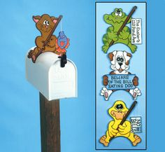 Mailbox Greeting Pets Woodcraft Pattern 4 differnt character to attach to the top of your mailbox. #diy #woodcraftpatterns