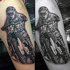 70 Motocross Tattoos For Men - Dirt Bike Design Ideas Dirt Bike Tattoo, Motocross Tattoo, Bike Tattoos, Tatoos, Gear Tattoo, Helmet Tattoo, X Tattoo, Tatouage Dirt Bike, Fox Racing Tattoos