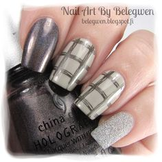 Nail Art by Belegwen: China Glaze Galactic Gray & Five Rules & Glistening Snow. Stamping plate is Qgirl-009 and stamping polis A England Dorian Gray.
