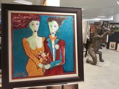 """Art - Laurens Barnard (laubar) """"Two People/ Two winds"""" oil on canvas framed US $ 5000 phone Laurens @ +27 763108800 Canvas Frame, Oil On Canvas, Four Square, Brooklyn, Studio, Phone, Painting, Art, Art Background"""