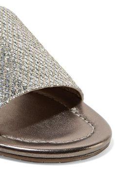 Jimmy Choo - Nanda Glittered Canvas Slides - Silver - IT36.5