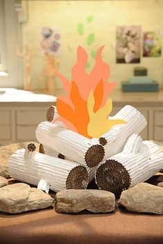 Cardboard Faux Logs - Martha Stewart Crafts - great for a camping themed display! Camping Parties, Camping Theme, Camping Crafts, Cardboard Crafts, Paper Crafts, Cardboard Play, Indoor Camping, Crafts For Kids, Arts And Crafts
