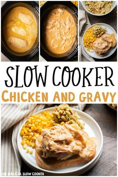 Slow Cooker Chicken and Gravy will be your new favorite slow cooker recipe. - The Magical Slow Cooker Crockpot Dishes, Crock Pot Slow Cooker, Crock Pot Cooking, Slow Cooker Chicken, Slow Cooker Recipes, Crockpot Recipes, Cooking Recipes, Slow Cooker Dinners, Crockpot Chicken And Gravy