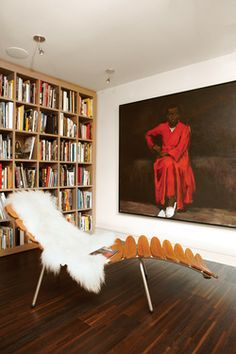 Palms lounger by Dutch designer Frans Schrofer and the painting Any Number of Preoccupations by Lynette Yiadom-Boakye.