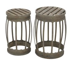 Barrel Shaped Metal Stool With Greenish Finish- Set Of 2. Carved To Impress With Its Design, This Metal Stool - Set Of 2 Will Make A Style Statement In Your Room When Accompanied By The Proper Home Settings. Made From High Quality Metal, This Set Of Stool Can Help You To decorate Interior As Well As Outdoor Ambience As Its Build Promises To Withstand All Seasons With A Charm Flaunting A Lustrous Shine. It Is Designed To Form A Barrel Shape To Accent Its Looks And Functionality, Making It Strong In...