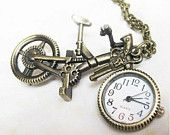 two swallows Amber Glass Pocket Watch Necklace.