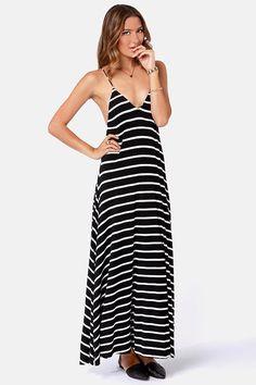 Wilshire Boulevard Black and White Striped Maxi Dress at LuLus.com! Long  Junior Dresses 566bb57b9