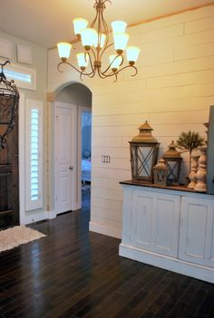 add wood plank boards to the wall and paint white.nice idea for an accent room Wood Plank Walls, Wood Planks, Planked Walls, House Is A Mess, Basement Inspiration, Ship Lap Walls, Diy Interior, Wall Treatments, Beautiful Interiors