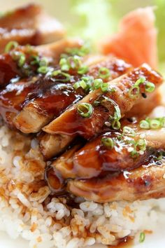 Baked Teriyaki Chicken- I made this tonight and replaced the white sugar with maple syrup and served it over brown rice...so good!! It's a keeper.