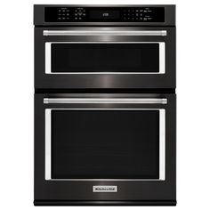 KitchenAid 30 in. Electric Even-Heat True Convection Wall Oven with Built-In Microwave in Black Stainless