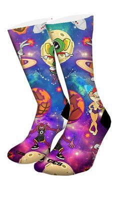 Ever popular space jam custom elite socks, featuring your favorite looney characters with a twist of galaxy theme. • Comes in standard sizes • Reinforced heel and toe for enhanced durability • Left/Ri
