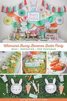 This Whimsical Bunny Bonanza Easter Party is full of so many adorable Easter ideas, fun inspiration, delicious sweets and treats to fill those Easter baskets, beautiful party decorations and a gorgeous tablecloth to host an amazing Easter brunch! #easter #easterideas #easterparty #bunny #easterbunny #justaddconfetti #partyideas #partydecor #eastercookies #easterchocolate