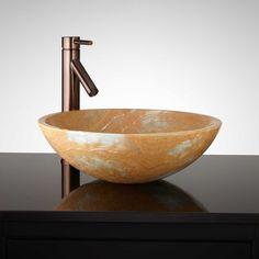 Hatton Round Blue Onyx Vessel Sink