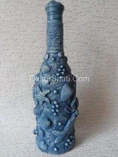 Most recent Images Bottle and jars Suggestions, Deniz kabuklarıyla cam şişe süsleme modeli-Dekorsaati Glass Bottle Crafts, Bottle Charms, Diy Bottle, Bottle Art, Ocean Bottle, Recycled Wine Bottles, Painted Wine Bottles, Bottles And Jars, Glass Bottles