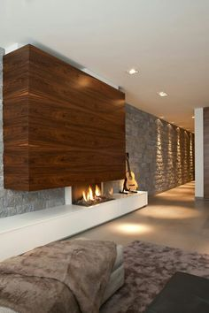 I love this modern stiled house interior with this guitar, led lights and fireplace. Home Fireplace, Modern Fireplace, Fireplace Design, Contemporary Fireplaces, Contemporary Interior Design, Modern Design, Interior Architecture, Interior And Exterior, Home Theather