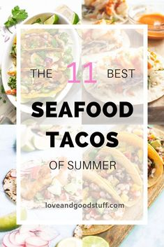 Seafood tacos are the perfect summer meal! Easy, fresh, healthy and delicious they are such a great way to celebrate warm weather and fun in the sun. We've gathered up the best seafood tacos from shrimp to mahi mahi to give you amazing recipes for taco Jicama Slaw, Cilantro Lime Slaw, Fish Recipes, Mexican Food Recipes, Whole Food Recipes, Dinner Recipes, Healthy Recipes, Seafood Taco Recipe, Seafood Recipes