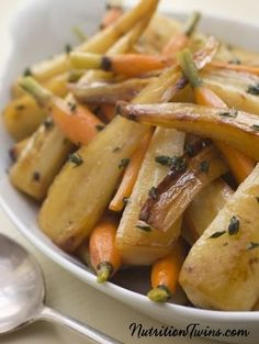 Roasted Parsnips and Carrots | Only 112 Calories Per Large Serving | Sweet & Caramel-ey | Satiating, Sink Your Teeth Into Food | For MORE RECIPES please SIGN UP for our FREE NEWSLETTER www.NutritionTwins.com