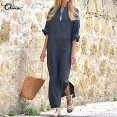Plus Size 2018 Celmia Women Retro Linen Dress Autumn Sexy V Neck Long  Sleeve Split Pockets 1d2f0ae75e9