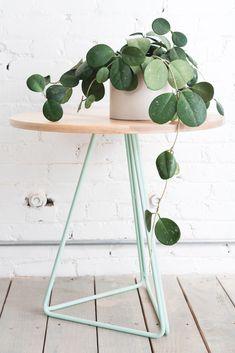 Maple + Mint Metal Side Table