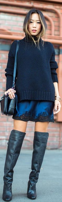 Turtleneck + Over The #Knee #Boots by Song Of style   So easy to wear.