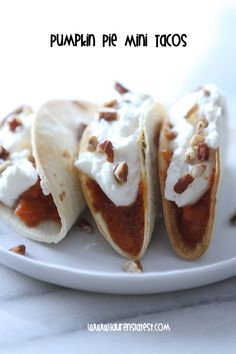 Dessert tacos are our favorite kind of tacos. Pumpkin pie filling is put in a pie crust taco shell and topped with delicious whipped cream. Get the recipe at Lauren's Latest.   - Delish.com
