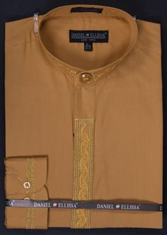 Men's Banded Collar Dress Shirt - Wave Print Embroidery Honey Gold | MensITALY Price: US $65