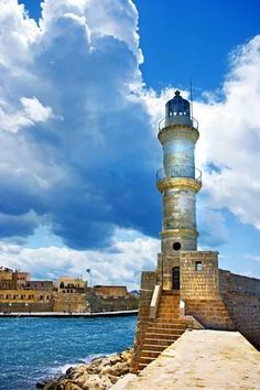 Photographic Print: Chania Crete (Greece) - Dramatic Image of Light House by Maugli-l : 24x16in