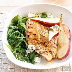 This quick dinner idea is ready in just 30 minutes! Turkey steaks make a heart healthy main and sides of sweet and savory spinach and pears create a tasty and healthy combination.