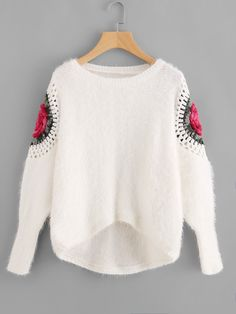 SheIn offers Flower Crochet Sleeve Staggered Fluffy Jumper & more to fit your fashionable needs. Teen Fashion Outfits, Girl Fashion, Backless Sweater, Autumn Fashion 2018, Casual Tops For Women, Elegant Outfit, Crochet Fashion, Jumpers For Women, Ladies Dress Design
