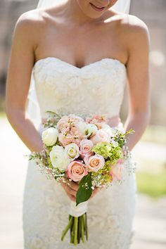 soft white and pink rose bouquet by occasions by emily http://www.weddingchicks.com/2013/09/13/pink-and-mint-wedding/