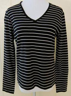 Women's Size M Long Sleeve Black & White Stripe Cotton Top Charter Club #CharterClub #KnitTop