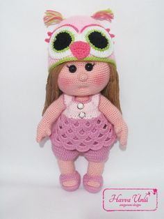 PATRÓN - Muñeca ONU de la estafa sombrero de búho (ganchillo, amigurumi)