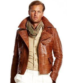Ralph Lauren tan croc leather jacket