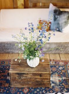 I've always loved old crates and boxes as tables. And hand picked flowers. <3