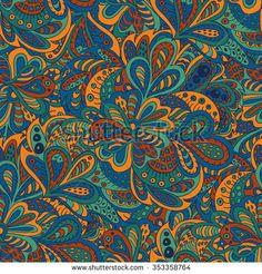 seamless pattern ethnic floral blue and brown  #bubushonok #art #bubushonokart #design #vector #shutterstock  #pattern #fabric #seamless #doodle #ornament