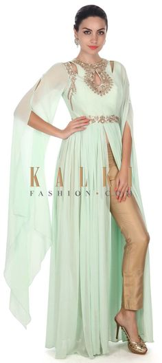 Buy this Pista green suit adorn in zardosi embroidery only on Kalki
