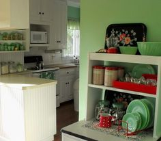 View into kitchen...  Vintage everything- love this blog!