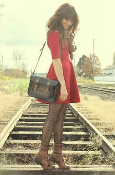 Dark-brown-vintage-boots-ruby-red-black-sheep-clothing-dress- dnt like the boots but love the tights, dress, scarf and bag :) Mode Outfits, Fall Outfits, Dress Outfits, Fashion Outfits, Holiday Outfits, Outfit Winter, Fashion Tights, Womens Fashion, Winter Cardigan