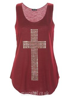 Embellish Cross Casual Tank Top / Wine - Womens Clothing Sale, Womens Fashion, Cheap Clothes Online   Miss Rebel