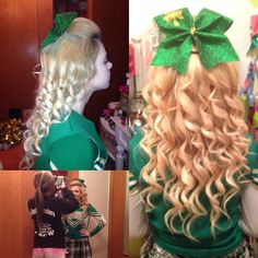Half up cheer hair with a poof and bow! Dry shampoo and hair spray for poof - spray shampoo then hair spray and tease in sections. Form, comb out and pin. 1/2 inch barrel curler for curls - tease near roots (slightly) before curling. Cheer perfection (: