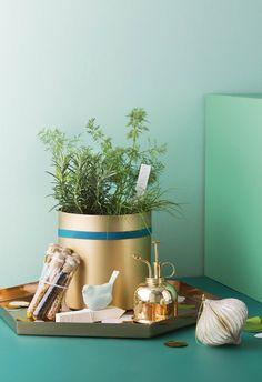 Green thumb: Get your hands dirty and package up aromatic herbs and seeds for a future garden, presented in on-trend brass accessories for festive shine. | 4 DIY Christmas hamper ideas to try in 2018 | Styling: Vanessa Colyer Tay | Photography: Sam McAdam-Cooper