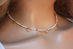 Items similar to Tiny Beads Choker Necklace, Gold Star Simple Jewelry on Etsy collares Items similar Diy Choker, Beaded Choker Necklace, Seed Bead Necklace, Simple Necklace, Simple Jewelry, Cute Jewelry, Beaded Jewelry, Jewelry Necklaces, Beaded Bracelets