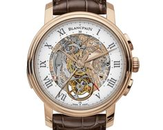 Presented at BaselWorld The new Blancpain Le Brassus Carrousel Répétition Minutes Chronographe Flyback is the first timepiece to associate Carrousel and Répétition Minutes complications with a flyback chronograph in a self-winding version. Patek Philippe, Amazing Watches, Beautiful Watches, Cool Watches, Rolex Watches, Fine Watches, Sport Watches, Gentleman Watch, Skeleton Watches