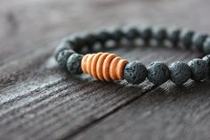 Lava Stone and Corrugated Wood Bracelet by Rustic by RUSTICBRAND