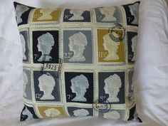 $34.50 Mustard Grey Charcoal British Queen's Head by StitchAnnStyle