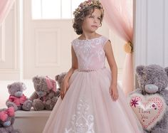 Marfil y Beige flor vestido de niña boda por Butterflydressua